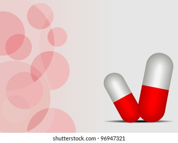 Medical background with red pills, abstract vector illustration.