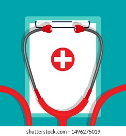 Medical background with stethoscope and medical clipboard. Vector illustration.