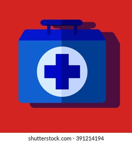 medical bag. case, first help. Vector Illustration. flat design