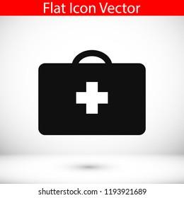 medical bag icon, stock vector illustration flat design style