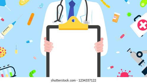 Medical banner concept flat style design poster. Male man doctor employee on it holding clipboard and arounded with hospital equipment and medicines. Medical awareness flu, polio influenza etc. banner