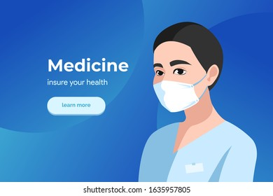 medical banner. Coronavirus protection. Doctor muzhchina on a poster in a white mask. private clinic. vector illustration