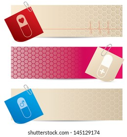 Medical banners with attached notepapers on white background