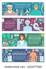 Medical banners of hospital doctors in traumatology and oncology, infectiology and endocrinology. Vector medicines and medical tools, patient and MRI scanner, vaccines in flasks and human organs
