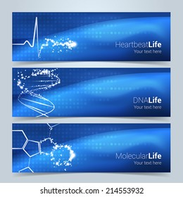 Medical banners or website header set. Heartbeat, DNA string and molecular structures with star glow effect. Text and background on separate layers. Fully scalable vector illustration.