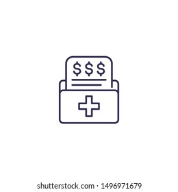 medical bill icon on white, line