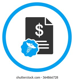 Medical Bill vector icon. Style is bicolor flat circled symbol, blue and gray colors, rounded angles, white background.