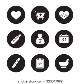 Medical black icons set. Hospital cardiology center. Thermometer and doctor white silhouettes illustrations. Cardiogram and heartbeat symbols. Pharmacy store and alternative medicine herbs. Vector