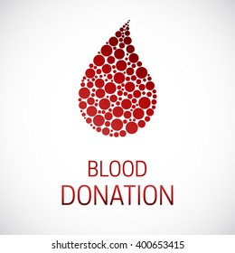 Medical Blood Donation isolated vector illustration poster. Blood cells made of dots. Infusion therapy. Blood healthcare.