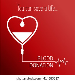 Medical Blood Donation vector illustration. Save a life. Medical healthcare concept.  Infusion therapy.