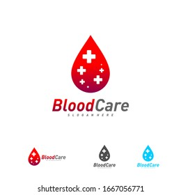 Medical Blood logo template vector, Droplet Blood with plus logo design concept