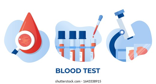 Medical blood test flat concept. Chemical laboratory analysis, medical office or laboratory. Patient blood in test tubes, medical blood test, blood samples. Chemical laboratory analysis