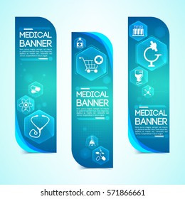 Medical blue vertical banners set with medicine and healthcare symbols flat isolated vector illustration