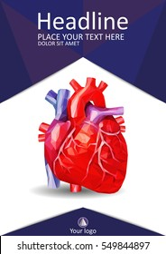 Medical book cover design A4. Annual report with human heart in low poly. Academic journals, conferences and magazines. Vector Illustration.
