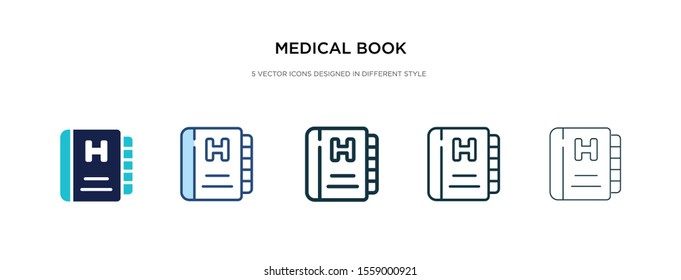 medical book icon in different style vector illustration. two colored and black medical book vector icons designed in filled, outline, line and stroke style can be used for web, mobile, ui