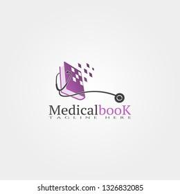 Medical book icon template, creative vector logo design, illustration element.