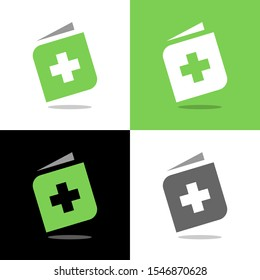 Medical book logo template, plus or positive combined with book symbol - Vector