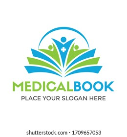 Medical book vector logo template. This design use people symbol. Suitable for healthy.