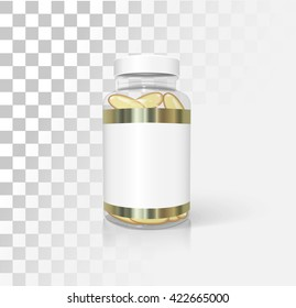 Medical bottle with omega 3, mockup