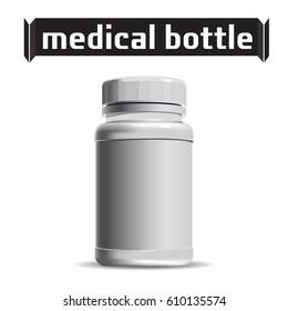 Medical Bottle. Pharmacy. Template of small White Plastic bottle. For medical ointment, pills, tabs. Packaging. Vector illustration.