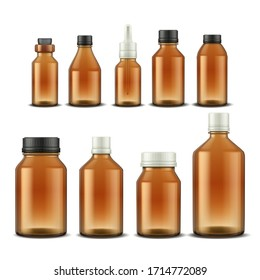 Medical bottle. Realistic pharmacy glass containers for pills mixtures and aromatic oil. Vector illustration drugs and medical supplements brown bottle with different lid set