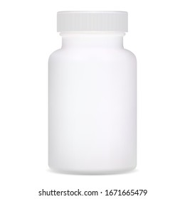 Medical bottle. White plastic supplement package design. Realistic template of pharmacy remedy pill container. Pharmaceutical capsule medicament jar. Prescription drug can