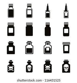 Medical bottles icon set, vector.