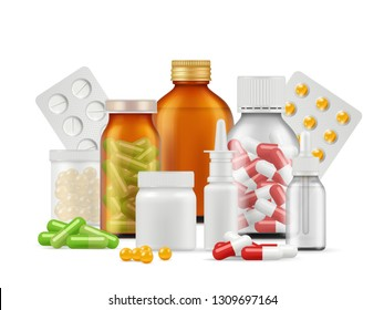 Medical bottles and pills. Medications aspirin antibiotic drugs tablets vector realistic health care concept