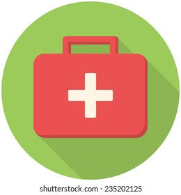Medical box, modern flat icon with long shadow