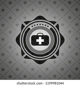 medical briefcase icon inside realistic dark emblem