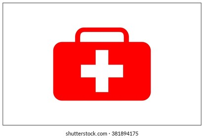Medical briefcase vector symbol, first aid flat