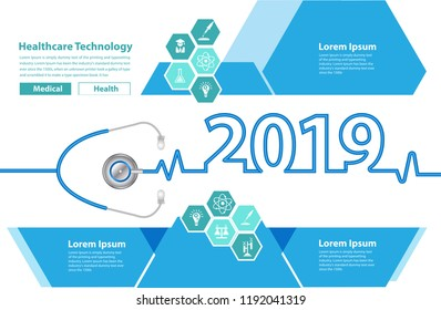 Medical brochure design template stethoscope heart creative ideas concept, Happy new year 2019 calendar cover, typography vector illustration