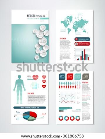 medical brochure template charts infographics elements stock vector