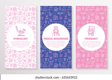 Medical brochure template, gynecology flyer. Vector trifold pink purple background. Obstetrics, pregnancy elements thin line icons - doctor, research, in vitro fertilization. Cute medicine poster.