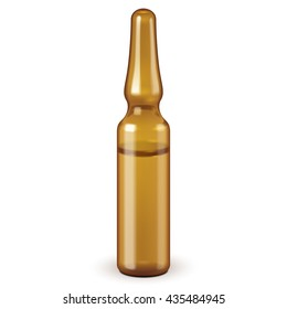 Medical Brown Glass Ampoule,  Isolated On White Background. Mock Up Template Ready For Your Design. Vector EPS10
