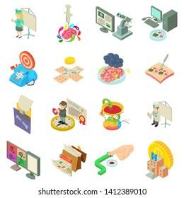 Medical bureaucracy icons set. Isometric set of 16 medical bureaucracy vector icons for web isolated on white background