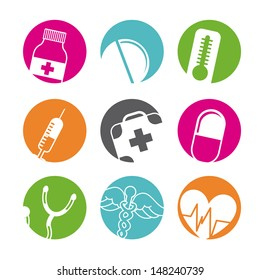 medical buttons over white background vector illustration