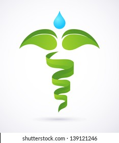 medical caduceus - alternative medicine green and nature symbol