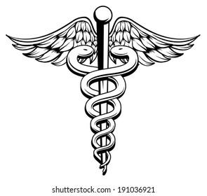 Medical Caduceus black and white
