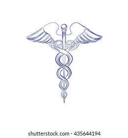 Medical caduceus sign, sketch style, vector illustration
