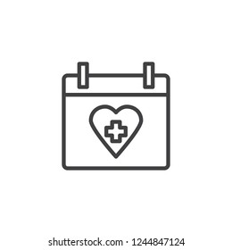 Medical calendar date outline icon. linear style sign for mobile concept and web design. Calendar with heart and cross simple line vector icon. World Heart Day symbol, logo illustration. Pixel perfect