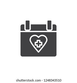 Medical calendar date vector icon. filled flat sign for mobile concept and web design. Calendar with heart and cross simple solid icon. Symbol, logo illustration. Pixel perfect vector graphics