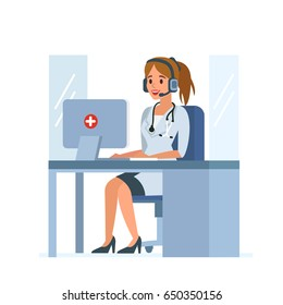 Medical call center operator at work. Flat style vector illustration isolated on white  background.