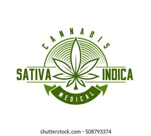 medical cannabis emblem, logo . classic vintage style