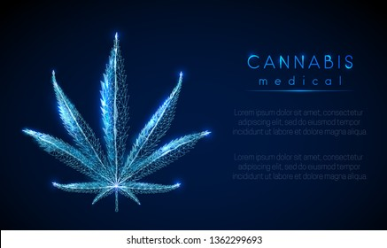 Medical cannabis leaf. Low poly style design. Abstract geometric background. Wireframe light connection structure. Low polygonal design. Modern 3d graphic concept. Isolated vector illustration.