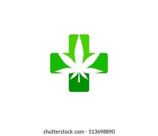 Medical Cannabis Logo Design Template Element