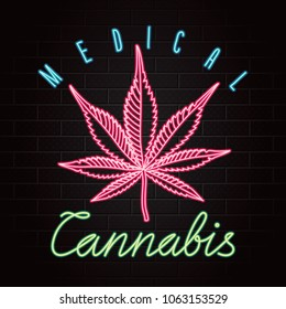 Medical Cannabis Logo Lettering with Glowing Neon Light Style Marijuana Leaf Creative Concept - Blue Green and Red Elements on Black Brick Wall Background - Vector Hand Drawn Doodle Design