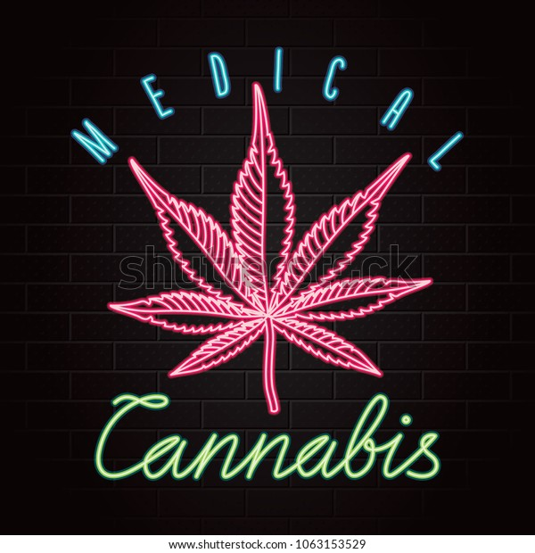 Medical Cannabis Logo Lettering Glowing Neon Stock Vector Royalty