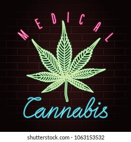 Medical Cannabis Logo Lettering with Marijuana Leaf Glowing Neon Light Style Creative Concept - Blue Green and Red Elements on Dark Brick Wall Background - Vector Hand Drawn Doodle Design