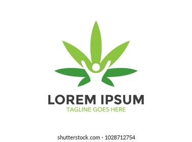 medical cannabis logo. marijuana. vector illustration. editable